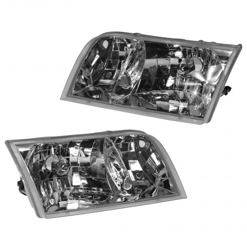 98-11 Ford Crown Victoria Headlight Globe w/Adjusters (w/o Bulbs) Pair(Ford)