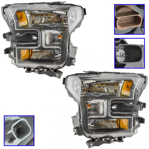 15-16 Ford F150 XL, XLT, Lariat Special Edition Black Halogen Headlight PAIR (Ford)