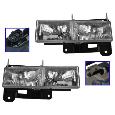 90-02 Chevy, GMC C/K; 92-99 Suburban, Yukon; 92-94 Jimmy; 95-00 Tahoe Composite Headlight Pair (GM)