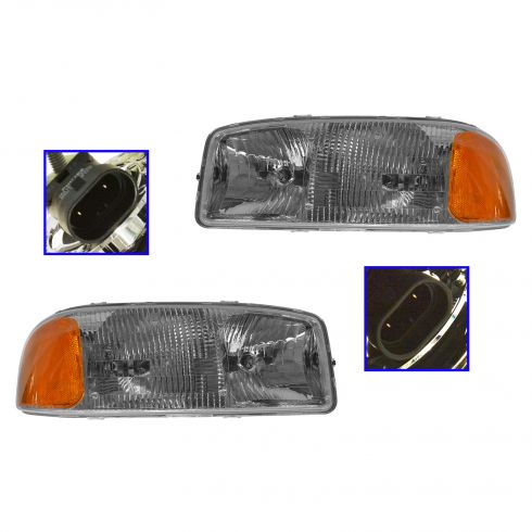 99-07 GMC 1500, 2500; 01-07 3500; 00-06 Yukon, XL (exc Denali, C3) Halogen Headlight Pair (GM)