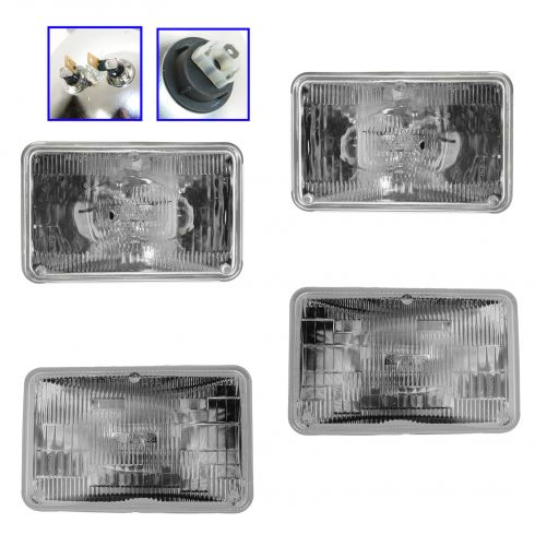 Rectangular Sealed Beam Hi and Low Beam Set LH and RH