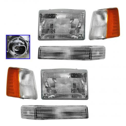 93-98 Jeep Grand Cherokee 6 Piece Headlight and 97-98 Parking Light Set