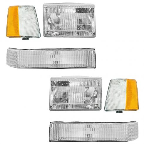 93-98 Jeep Grand Cherokee 6 Piece Headlight 93-96 Parking Light Set