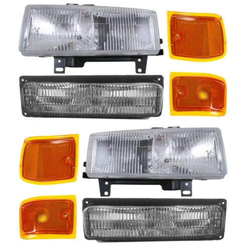 1996-02 Chevy Express GMC Savana Van Composite Headlight, Parking & Turn Signal Light Set