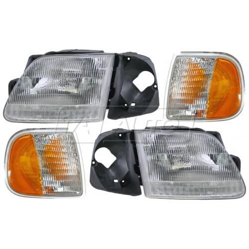 97 (thru 5/96) Ford F150 F250 Headlight & Corner Parking Light Set (4 Pieces)
