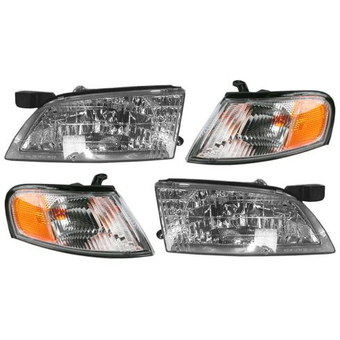 1998-99 Nissan Altima Headlight & Fdr Mtd Park Light Set of 4