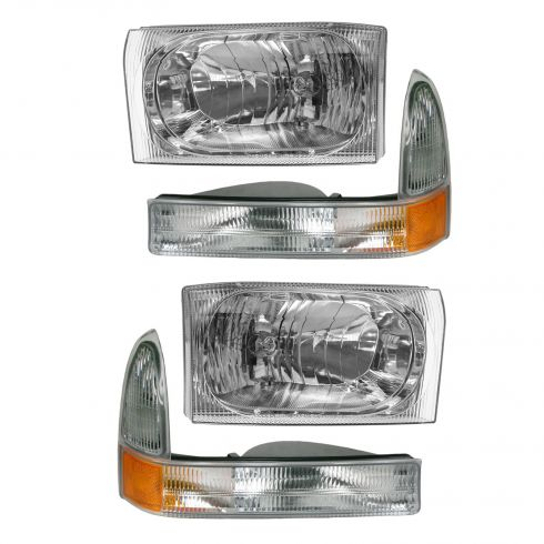 2002-04 Ford Excursion SD Headlight with Clear Lens & Parking Signal Light Set of 4