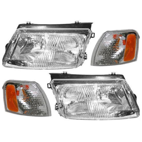 1998-01 VW Passat (thru VIN 049999) Headlight & Park Lamp Turn Signal Clear Set