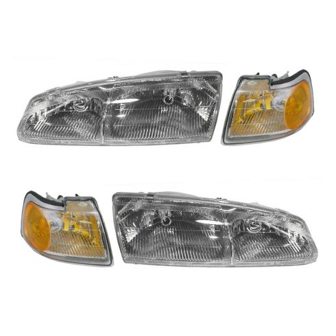 96-97 Ford Thunderbird, Mercury Cougar Headlight & Corner Light Kit (Set of 4)