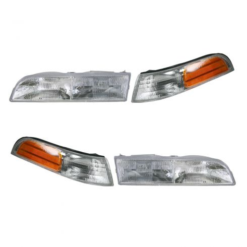 92-97 Crown Victoria Base Model Headlight & Corner Light Kit (Set of 4)