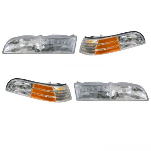 92-97 Crown Victoria LX Model Headlight & Corner Light Kit (Set of 4)