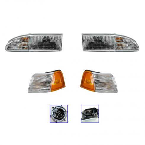 94-95 Ford Thunderbird Headlight & Corner Light Kit (Set of 4)