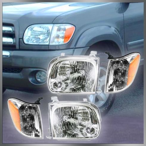 05-06 Toyota Tundra Double Cab; 05-07 Sequoia Headlight & Corner Light Kit (Set of 4)