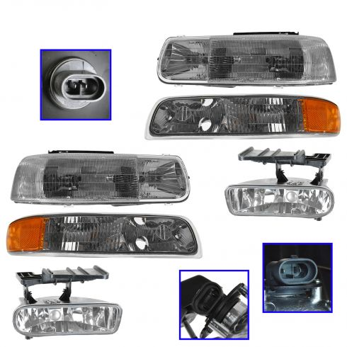 99-06 Chevy, GMC  Pickup/SUV Headlight, Parking Light, & Fog Light Kit (Set of 6)