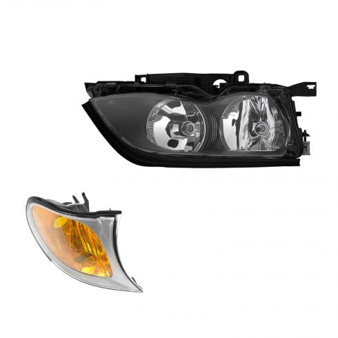 02-05 BMW 3 Series Sedan & SW Headlight & Corner Light w/Chrome Trim RF