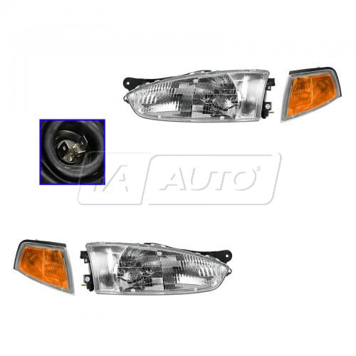 97-02 Mitsubishi Mirage Coupe Headlight & Parking Signal Light SET
