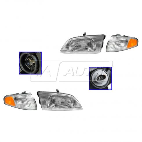 1998-99 Mazda 626 Headlight & Corner Light SET