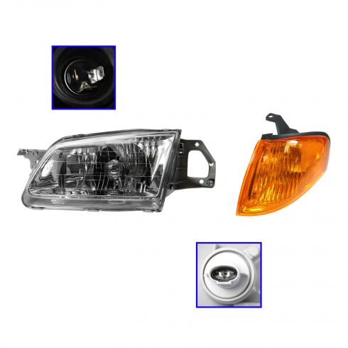 99-00 Mazda Protege Headlight & Corner Parking Light Kit LH