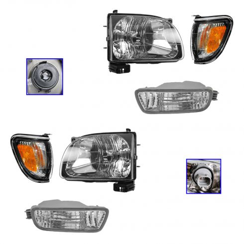01-04 Toyota Tacoma Headlight, Crome Corner Light, & Parking Light Kit