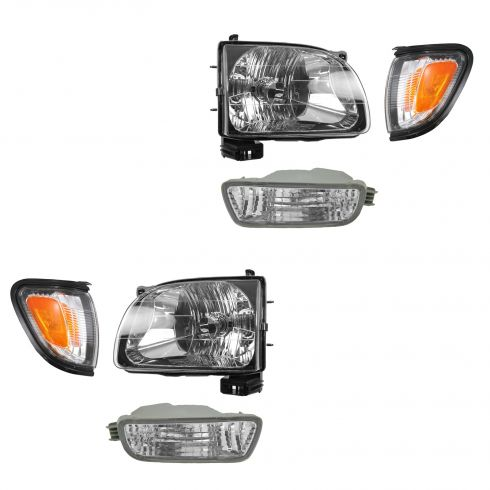 01-04 Toyota Tacoma Headlight, Black Trim Corner Light, & Parking Light Kit