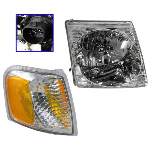 2001-05 Explorer Sport & Sport Trac Headlight & Side Marker Light Kit Passenger Side