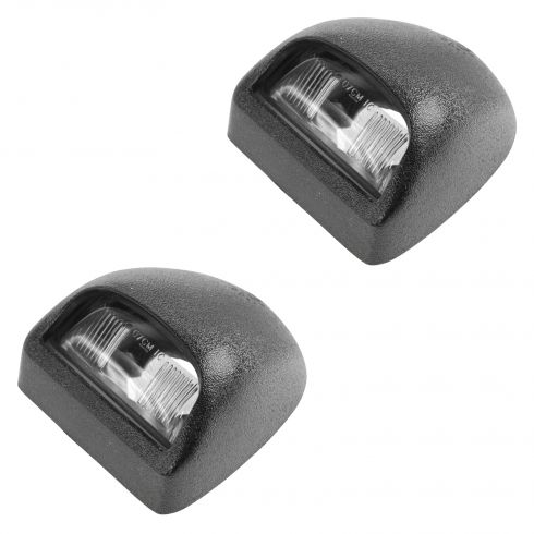 00-14 GM Full Size Pickup, SUV Multifit Text Blk Rear License Plate Light Lens & Hsg Pair (GM)