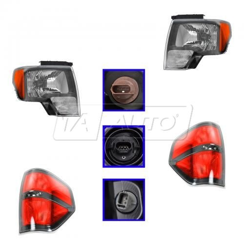 09-13 Ford F150 Harley; 10-13 SVT Raptor Smoked Border Headlight & Taillight Kit (Set of 4) (FORD)
