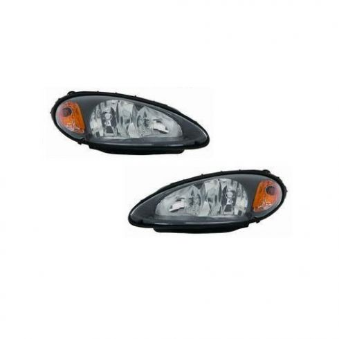 01-05 Chrysler PT Cruiser Black Bezel Performance Headlight PAIR