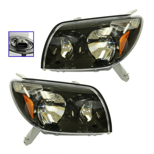 03-05 Toyota 4Runner Performance Black Bezel Headlight Pair