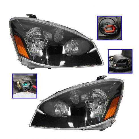 05-06 Nissan Altima Black Bezel Performance Halogen Headlight Pair