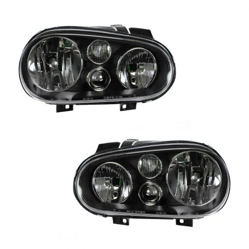 99-07 VW Golf (w/o Fog Lights) Black Bezel Performance Halogen Headlight PAIR