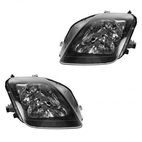 97-01 Honda Prelude Black Bezel Euro Crystal Style Performance Headlight PAIR