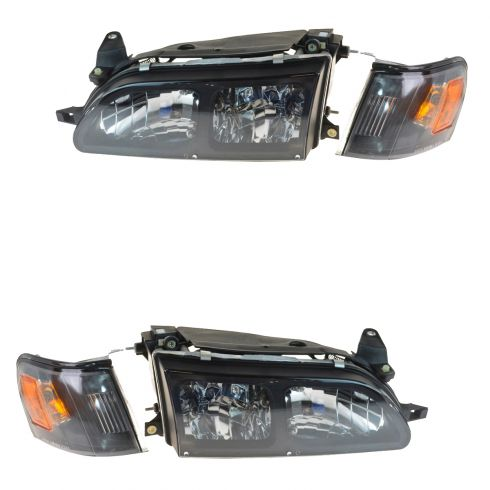 93-97 Toyota Corolla Black Diamond Euro Crystal Style Performance Headlight w/Corner Light PAIR