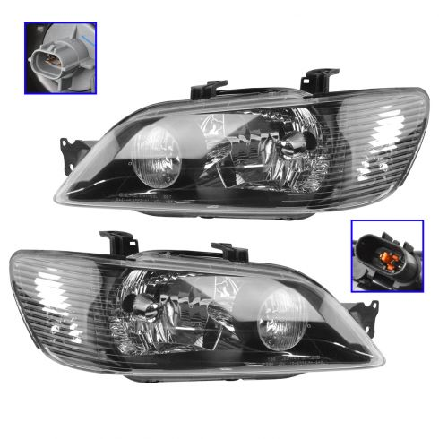 02-03 Mitsubishi Lancer (exc Evo) Black Bezel Performance Headlight PAIR