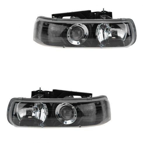 99-06 Silverado, Sierra, 07 Classic, 00-06 Tahoe, Suburban Perf.Black Bezel Projector Headlight PAIR