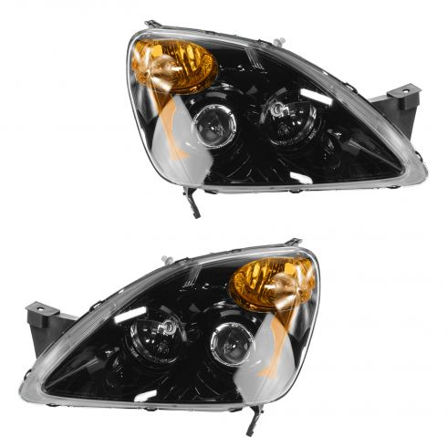 02-04 Honda CR-V Black Bezel Performance Projector Style Headlight PAIR