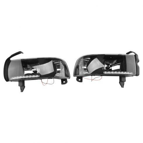 94-01 Dodge PU Performance Black Bezel LED DRL Headlight w/ Marker Pair