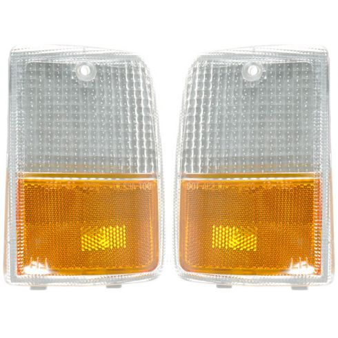 87-90 Chevy Caprice Headlight Bezel Mounted Corner Parking Light PAIR