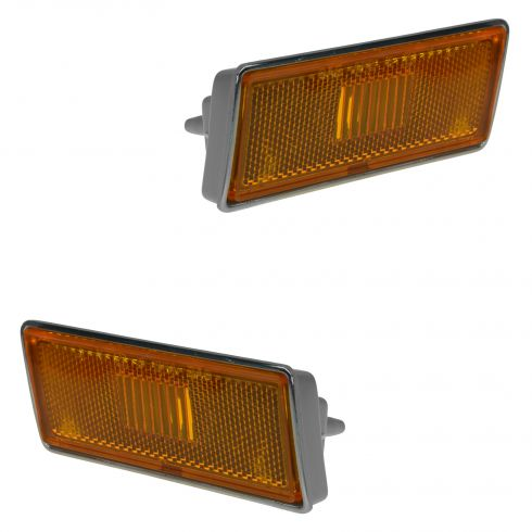 73-79 Chevy Corvette Fender Mounted Front Side Marker Light Amber Lense & Housing Pair (GM)