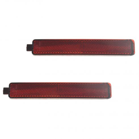 88-15 Chevy, GMC, Pontiac, Saturn Multifit Rear Bumper Mounted Outer Red Reflector Lens Pair (GM)