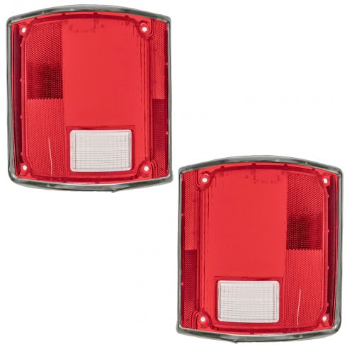 73-91 Suburban Taillight Lens w/chrome Trim Pair