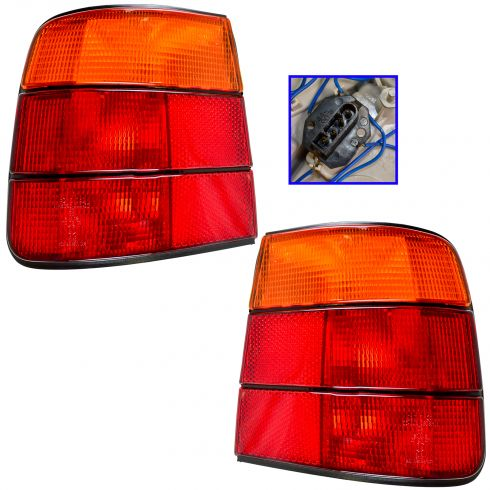 1989-95 BMW 525i Tail Light Red and Amber Pair