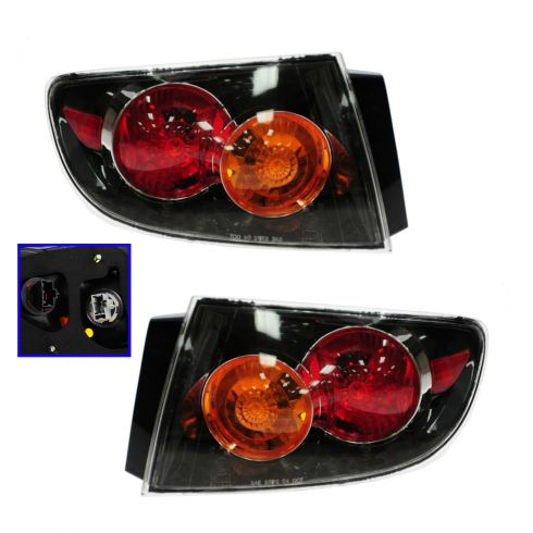 04-06 Mazda 3 Sedan Outer Taillight w/Clear Lens PAIR