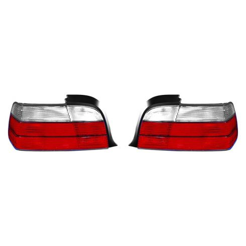 92-99 BMW 3 Series Coupe Convertible Tail Light (Red & White) PAIR