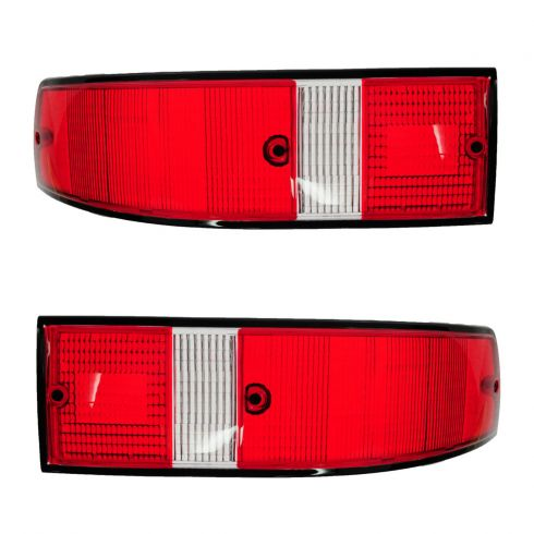 70-89 Porsche 911; 66-69, 76 912 Red, White w/Black Trim Taillight Lens PAIR