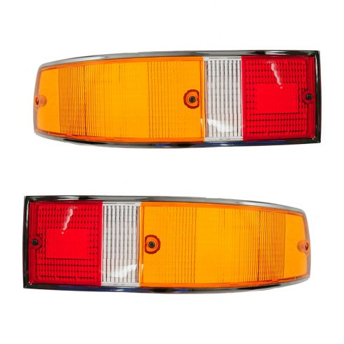 70-89 Porsche 911; 66-69, 76 912 Red, Yellow, White w/Chrome Trim Taillight Lens PAIR