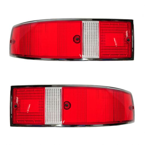 70-89 Porsche 911; 66-69, 76 912 Red, White w/Chrome Trim Taillight Lens PAIR