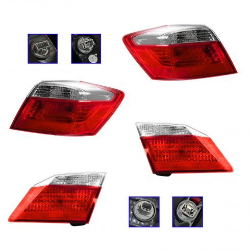 13 Honda Accord Sedan Tail Light Inner & Outer SET of 4