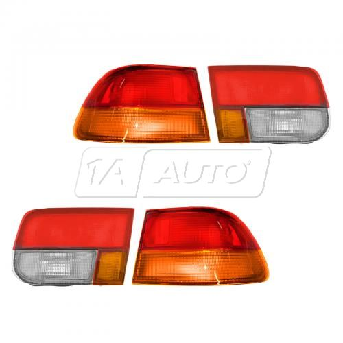 1996-98 Honda Civic 2dr Inner & Outer Tail Light SET of 4