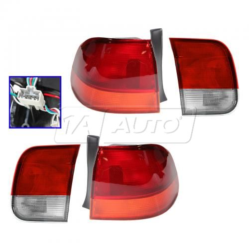 1996-98 Honda Civic 4dr Inner & Outer Tail Light SET of 4